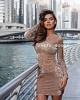 Женское стильное короткое платье из пайетки,цвет золото