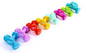 Гантели для фитнеса с виниловым покрытием Zelart Beauty TA-5225-1_5 (2x1,5кг) (2шт, цвета в ассортименте) Код
