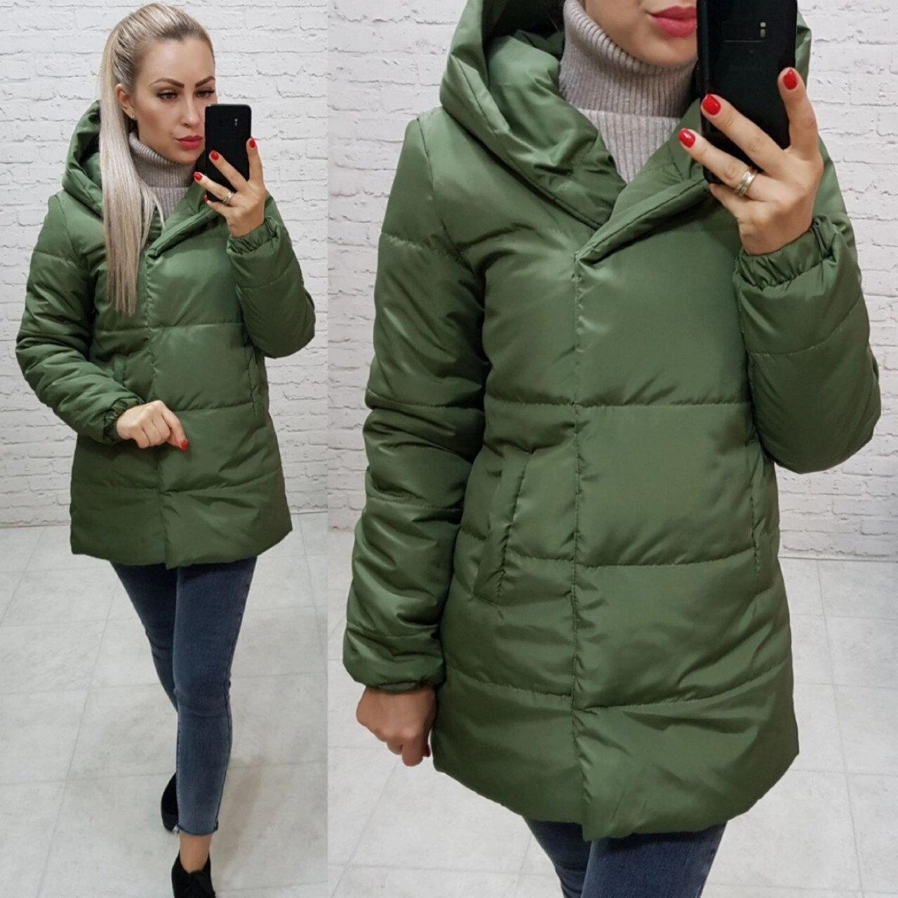 Куртка ковдру Oversize укорочена, артикул 1005, зеленого кольору / колір хакі