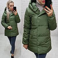 Куртка одеяло Oversize укороченная, артикул 1005, зелёного цвета / цвет хаки