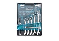 Набір ключів комбінованих з трещіткою, 8 - 19 мм, 7шт., CrV GROSS