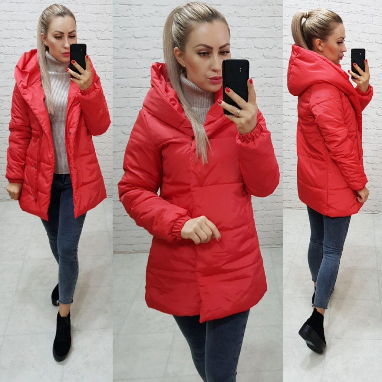 Куртка одеяло Oversize укороченная, артикул 1005, красного цвета, цвет красный