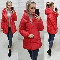 Куртка одеяло Oversize укороченная, артикул 1005, красного цвета, цвет красный, фото 1