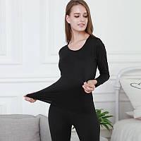 Термобелье женское, комплект - леггинсы и футболка. Термо костюм для женщин, размер S, M, L, XL (черное)