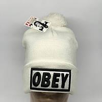 Шапка мужская стильная с бубоном Obey белая