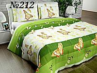 Постельное бельё, бязь GOLD, полуторный комплект, бабочки на зелёном фоне