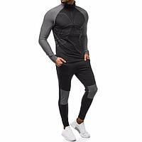 Мужской спортивный костюм термокостюм для занятия спортом темный S и XXL