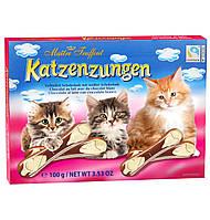 Детский  молочно - белый фигурный шоколад Кошачьи Язычки Maitre Truffout Katzenzungen Бельгия