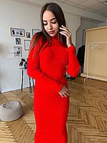 Вязанное платье в рубчик, длинна 120см, размер единый 42-50, фото 3