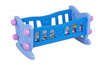 Кукольная кроватка для куклы и пупса ТЕХНОК с постельным бельем подушкой одеялом пластиковая сине-розовая
