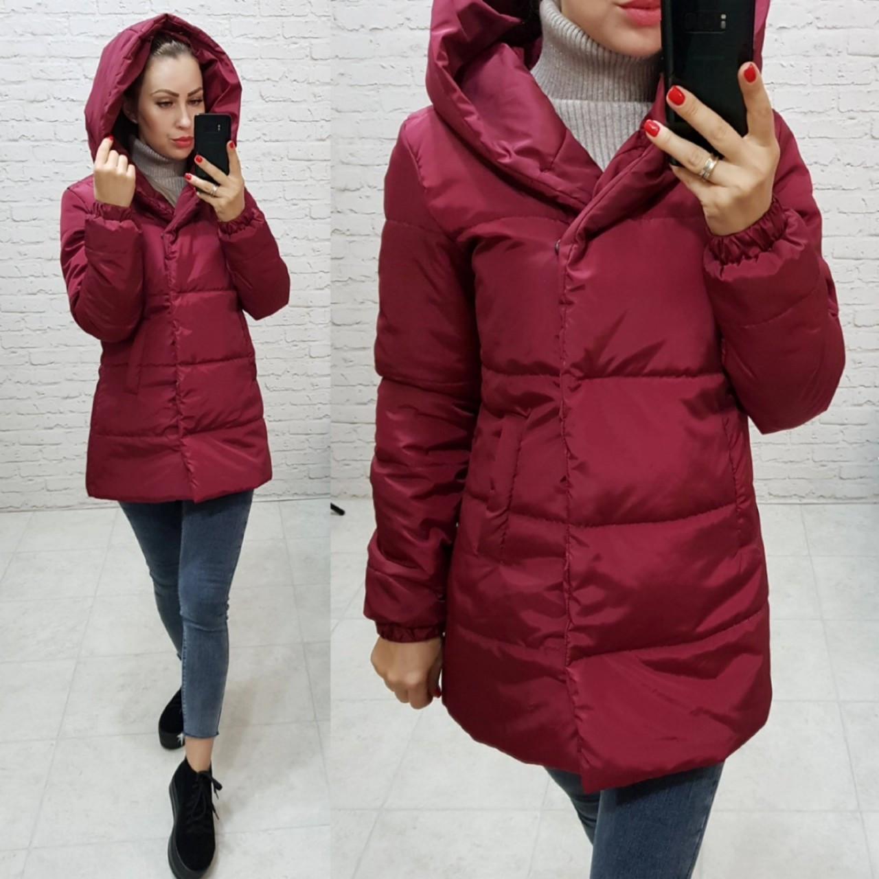 Куртка ковдру Oversize укорочена, артикул 1005, бордового кольору / цвіт марсала