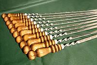 Набор шампуров с деревянными ручками из нержавеющей стали 10 шт. (730х12х3 мм)