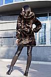 Женская шуба 90 см цвета махагон  до колен  с капюшоном из искусственного меха полоска vN3251, фото 3