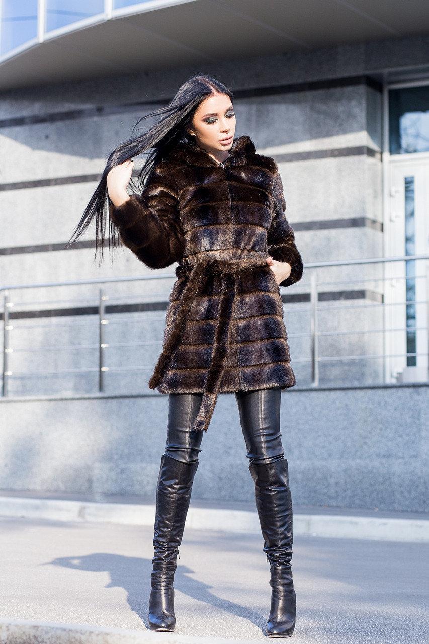 Женская шуба 90 см цвета махагон  до колен  с капюшоном из искусственного меха полоска vN3251