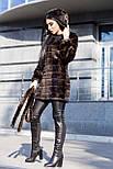 Женская шуба 90 см цвета махагон  до колен  с капюшоном из искусственного меха полоска vN3251, фото 4