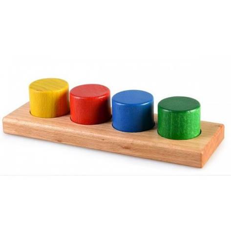Развивающая игрушка из дерева цилиндры-цвет, фото 2