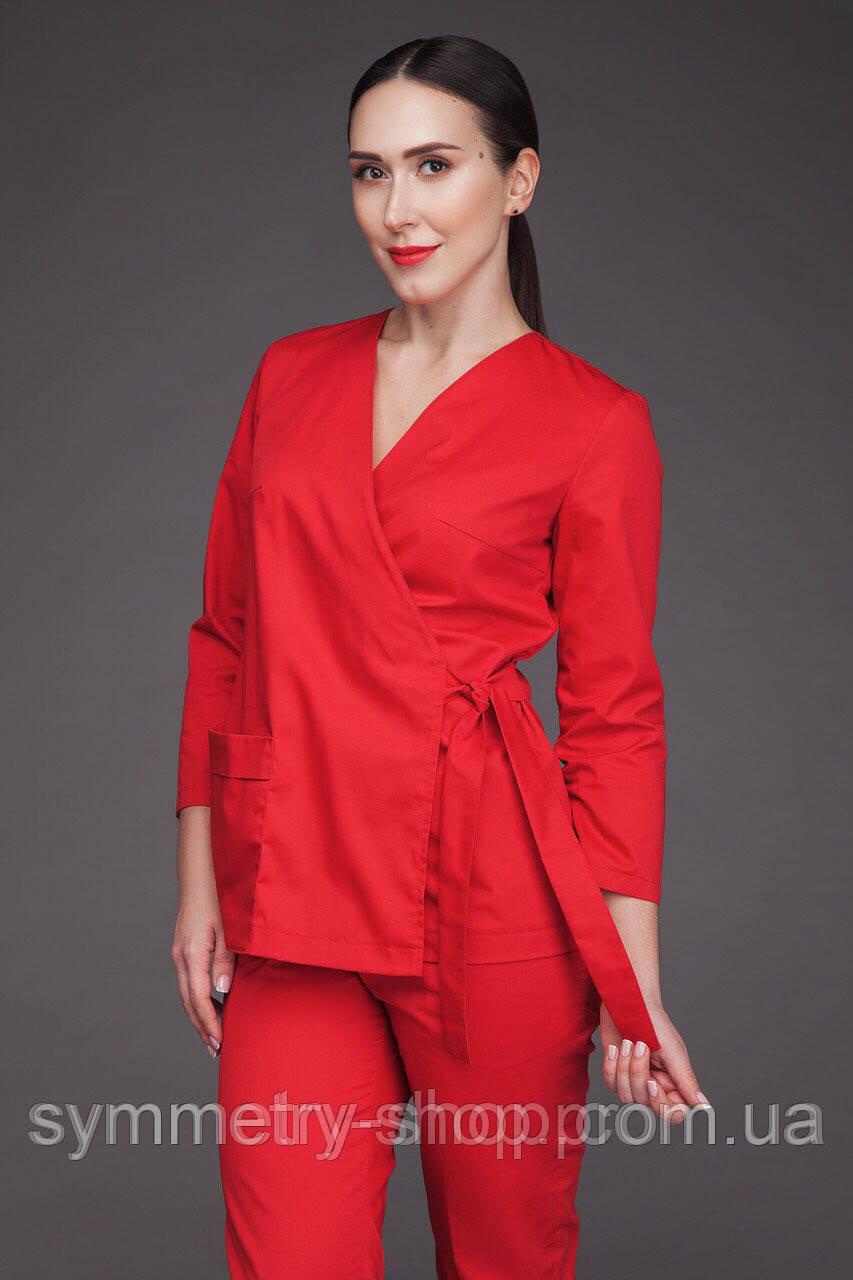 Блуза на запах Т005, красная, фото 1