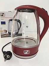 Чайник стеклянный PROMOTEC PM-810 Red (6шт/ящ)