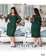 Вечернее женское платье зелёного цвета с гипюром с 50 по 64 размер