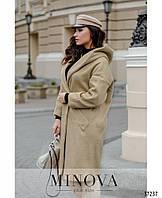 Женское  пальто эко- мех 0333  бежевого цвета