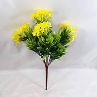 Жовтий олеандр 35см кущ з штучними квітами з пластику, фото 1
