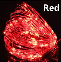 Светодиодная гирлянда нить, проволка, на батарейках 10 м., Red, красный