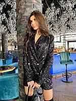 Платье - пиджак из пайетки с длинным рукавом и на подкладе 7103398