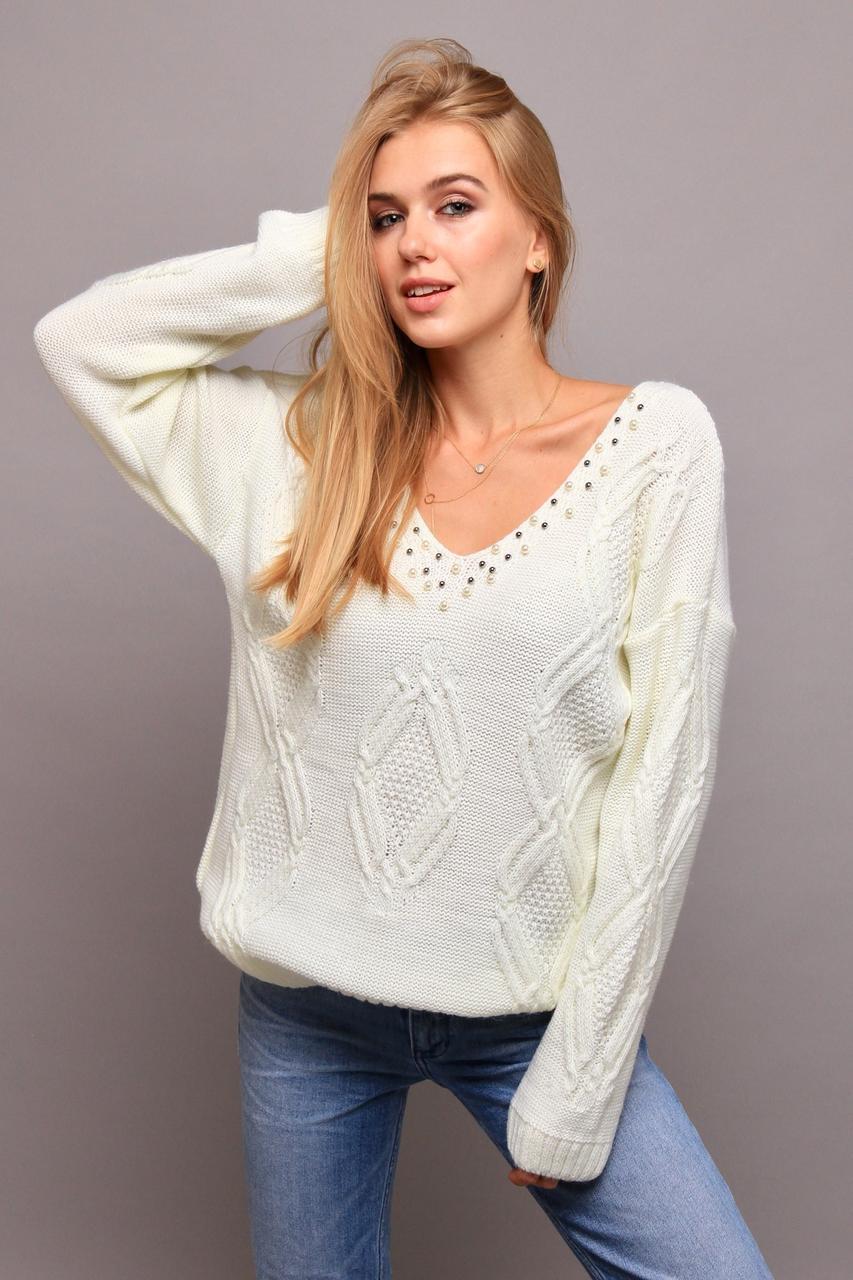Эффектный свитер в стиле oversize со спущенным плечом с 44 по 50 размер