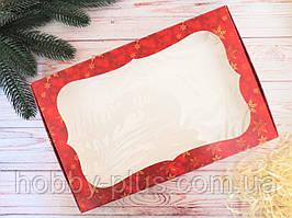 Коробка для изделий ручной работы с окном, 200х300х30 мм, новогодний принт (красный), 1шт