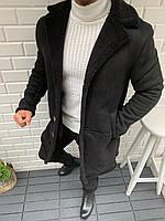 😜 Дубленка мужская черная осень/зима с черным мехом