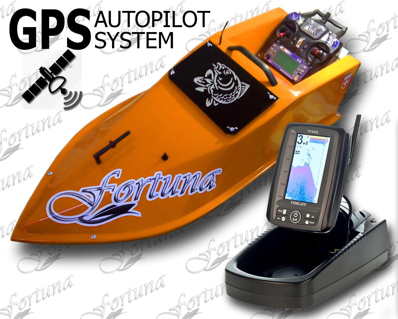 Карповый радиоуправляемый кораблик для завоза корма Фортуна с эхолотом Toslon TF500 и GPS автопилот