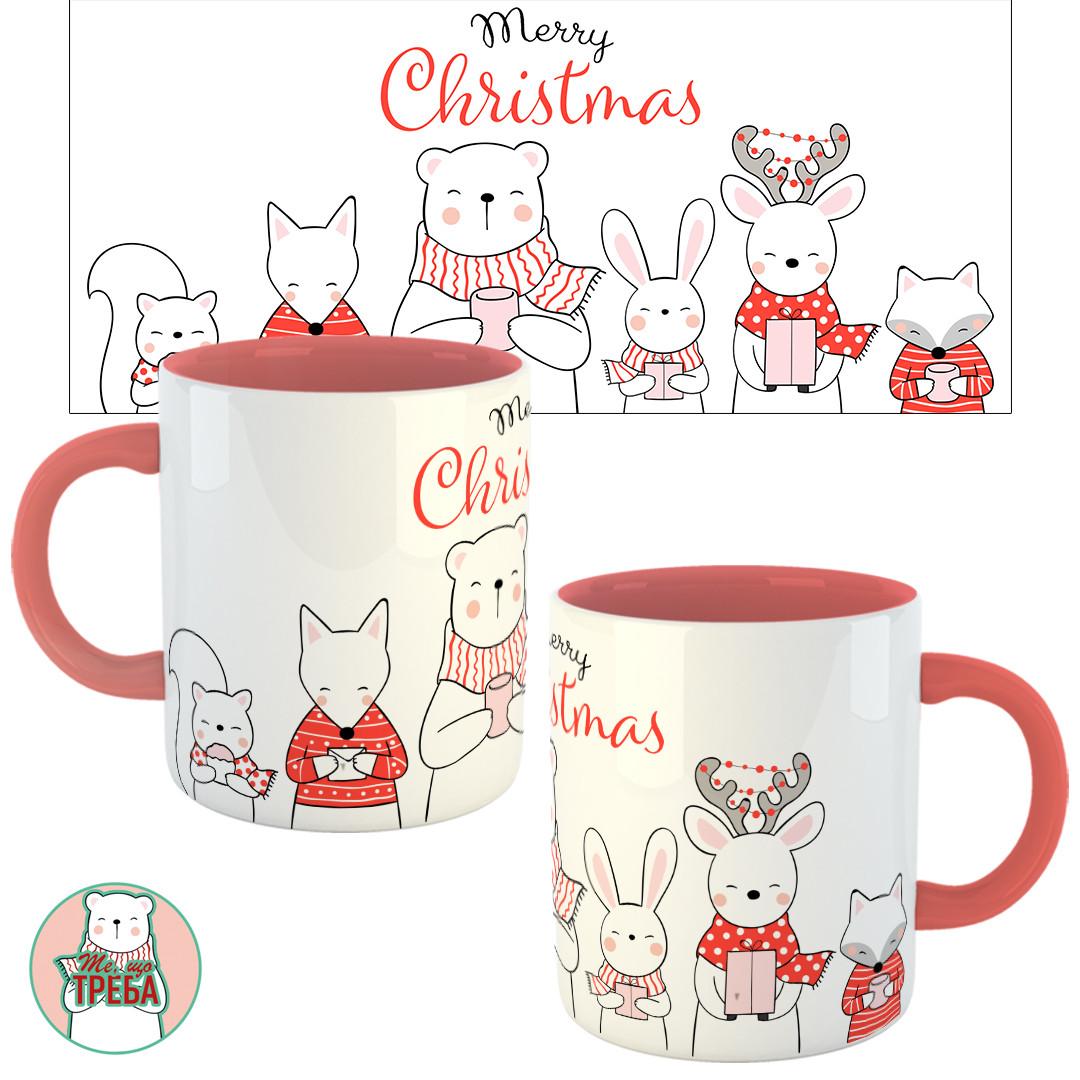 """Горнятко / чашка """"Merry Christmas / Щасливого Різдва-2"""" Рожевий"""