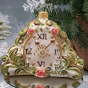 Скляна ялинкова іграшка Годинник Вінтаж Irena, фото 2