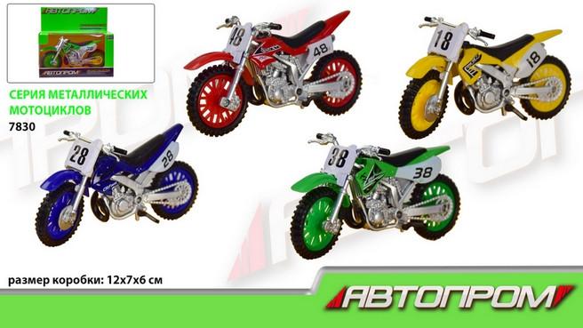 Мотоцикл металл 7830 АВТОПРОМ Кроссовый М1:50