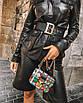 Пояс женский эко-кожаный ремень с люверсами черный широкий с золотой пряжкой, фото 4