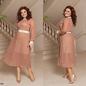 Платье-двойка шифон, французский трикотаж  42-44, 44-46
