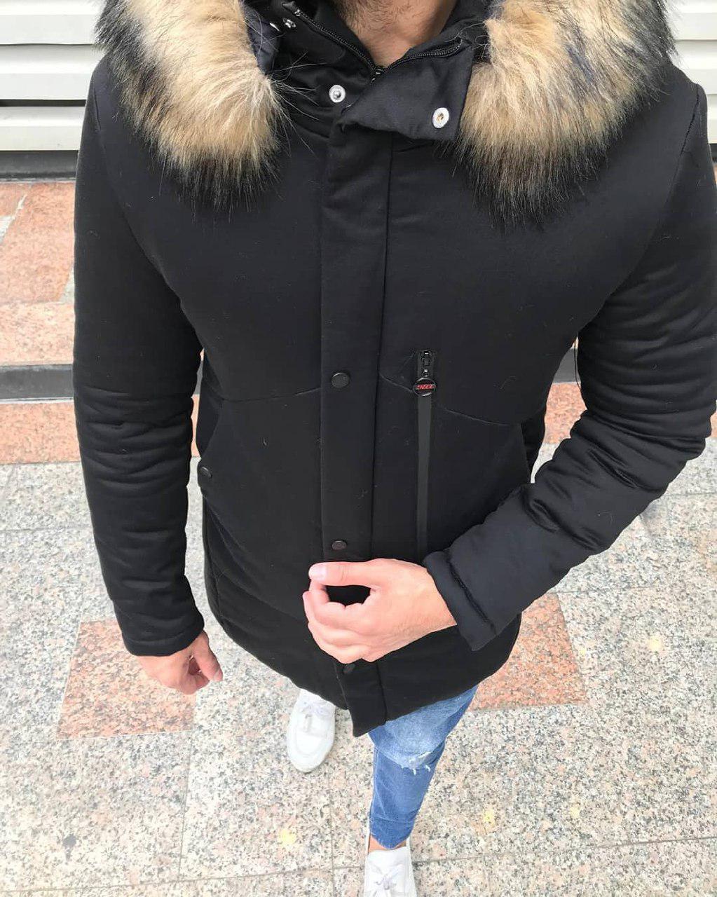 😜 Куртка чоловіча зимова парку чорна з хутряним коміром ( відстібається)