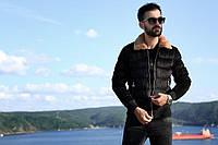 😜 Куртка - Мужскаяя теплая зимняя куртка с меховым воротником вискоза черная