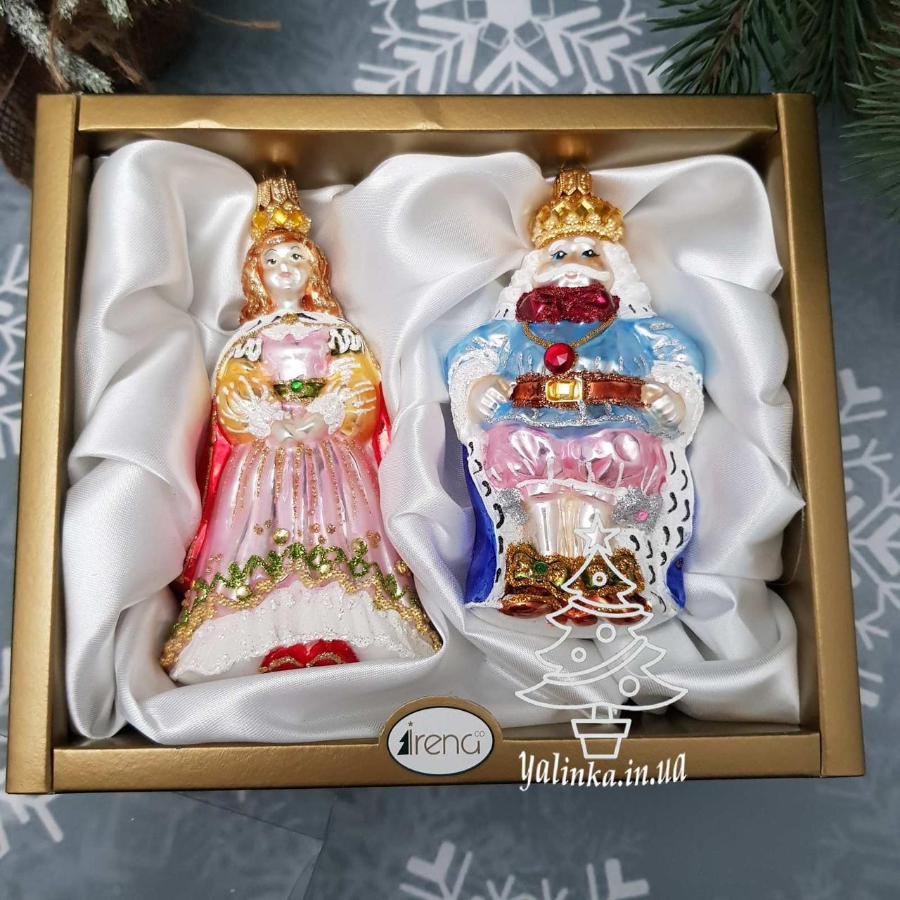 Набор стеклянных елочных игрушек Король и королева Irena