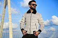 😜 Куртка - Мужскаяя теплая зимняя куртка с меховым воротником вискоза белая