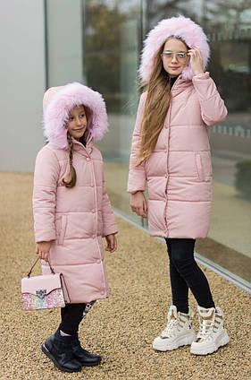 """Детское зимнее пальто силикон + флис 8968 """"Аляска Кнопки Капюшон Мех"""" в расцветках"""