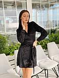 Велюрову сукню на запах з довгим рукавом vN5625, фото 2