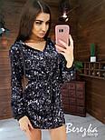 Платье худи из пайетки с кулиской на талии и капюшоном vN5631, фото 3