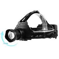 Фонарь налобный GL-T50-HP50, ЗУ microUSB, 3x18650, signal light, zoom, Box