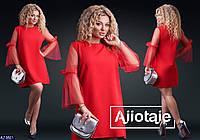 Батальное нарядное платье с прозрачными рукавами красного цвета