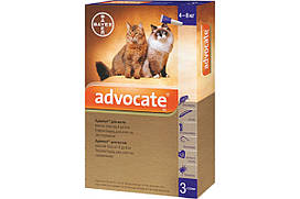 Капли против паразитов Bayer Advocate для котов от 4 до 8 кг (цена за 1 пипетку)