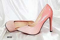 Женские туфли лодочки,пудра растяжка,глянец