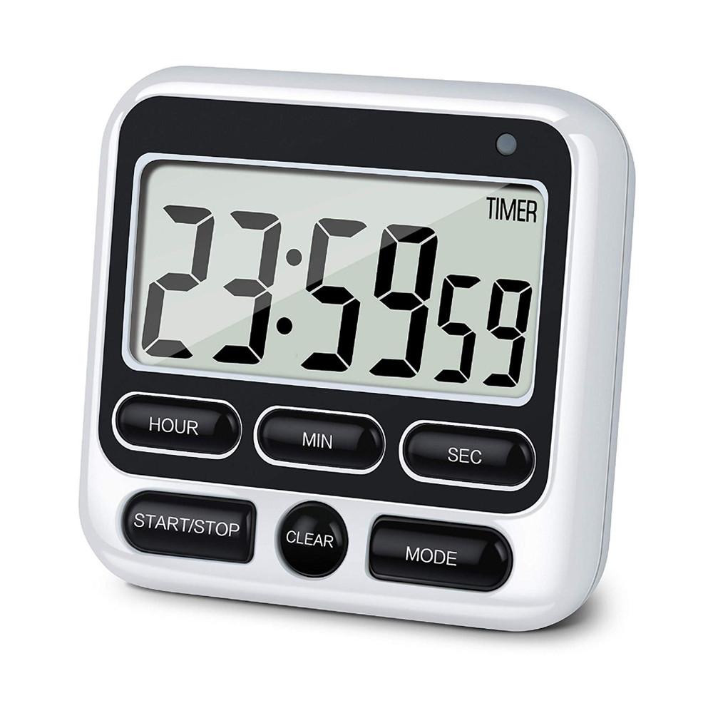 Таймер кухонный JS-193 (HX106) с функцией часов, звуковая и LED индикация, кнопка On/Off ( до 24 часов). Black
