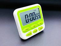 Таймер кухонный JS-193 с функцией часов, звуковая и LED индикация, кнопка On/Off ( до 24 часов). Green.