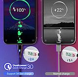 USLION Магнитный кабель micro usb быстрая зарядка 3А для Android Samsung Xiaomi для зарядки Цвет синий, фото 5